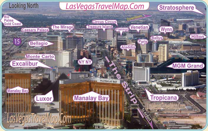 Las Vegas Hotels on The Strip. Las Vegas Image Map
